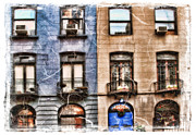 Skates Prints - windows on brownstones in New York CIty Print by Geri Scull
