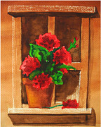 Red Geraniums Prints - Windowsill Color Print by Ruthann Carlson