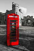 Call Box Posters - Windsor Castle Red Telephone Box Poster by Chris Thaxter