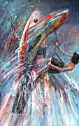 Wind Surfing Art Paintings - Windsurf 03 by Miki De Goodaboom