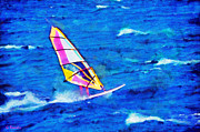Surreal Landscape Painting Metal Prints - Windsurf Metal Print by George Rossidis