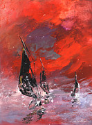 Gouache Paintings - Windsurf Impression 02 by Miki De Goodaboom