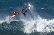 Big Wave Surfing Posters - Windsurfer Hanging In Poster by Bob Christopher