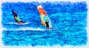 Rossidis Paintings - Windsurfing by George Rossidis
