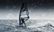 Luz Posters - Windsurfing With Water Drops On Camera Poster by Ben Welsh