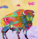 Buffalo Painting Prints - Windswept Print by Tracy Miller