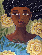 African-american Paintings - Windswept with roses by Elaine Jackson