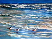 Gulf Pastels Framed Prints - Windy Day at the Gulf    Pastel    Framed Print by Antonia Citrino