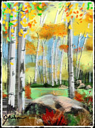 Autumn Landscape Mixed Media Prints - Windy day in the aspens Print by Craig Nelson