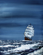 Masted Ship Paintings - Windy Day by Jack  Brauer