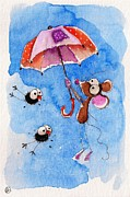 Umbrella Paintings - Windy days by Lucia Stewart