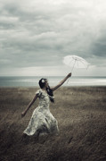 Floating Girl Metal Prints - Windy Metal Print by Joana Kruse