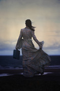 Woman Waiting Prints - Windy Journey Print by Joana Kruse