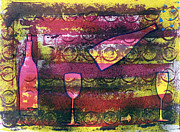 Bubbly Painting Framed Prints - Wine - 1720 Framed Print by Richard Sean Manning