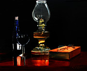 Oil Lamp Originals - Wine And A Good Book by Randy Bell