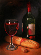 Wine Bottle Paintings - Wine and Baguette by Timothy Jones