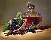 Glass Bottle Drawings Framed Prints - Wine and Berries Framed Print by Natasha Denger