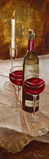 Wine Glasses Paintings - Wine and Candle by Vic Mastis with Oil and Gold Leaf by Vic  Mastis
