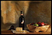 Chianti Framed Prints - Wine and Cheese 1 Framed Print by Paulette Wright