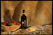 Wooden Bowl Prints - Wine and Cheese 2 Print by Paulette Wright