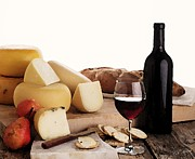 Merlot Prints - Wine and Cheese Print by Cole Black
