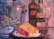White Grape Paintings - Wine and Cheese by Dorothy Siclare