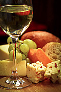 Glass Posters - Wine and cheese Poster by Elena Elisseeva