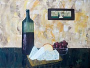Red Wine Prints Posters - Wine and Cheese Hour Poster by JoNeL  Art