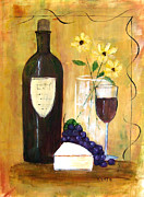 Red Wine Prints Framed Prints - Wine and Cheese II Framed Print by Karen Day-Vath