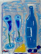 Blue Grapes Posters - Wine and Cheese Poster by Mary Carol Williams