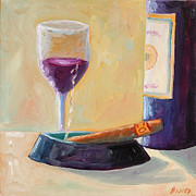 Red Wine Bottle Posters - Wine and Cigar Poster by Todd Bandy