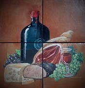 Food And Beverage Ceramics Posters - Wine And Dine Poster by Andrew Drozdowicz