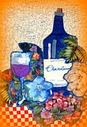 Wine Glass Mixed Media Posters - Wine And Flowers Poster by Barbara LeMaster