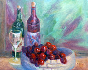 Wine Bottle Paintings - Wine and Fruit by Carolyn Jarvis