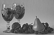 Wine And Fruit In B And W Print by Sherry Hallemeier