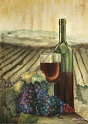 Wine-bottle Pastels - Wine and grapes by John F Willis