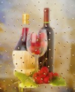 Wine Making Digital Art Prints - Wine and Grapes Print by Liane Wright