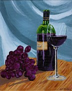 Italian Kitchen Posters - Wine and Grapes Poster by Vicki Maheu