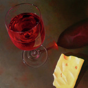 Photorealism Painting Posters - Wine and Jarlsberg Poster by Timothy Jones