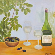 Wine Glasses Paintings - Wine and Olives by Sonja Austell