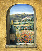 Window Art - Wine And Poppies by Marilyn Dunlap