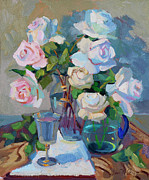 Fruit And Wine Paintings - Wine and Roses by Diane McClary