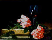 Wine Glass Paintings - Wine and Roses by Zelma Hensel