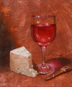 Glass Table Prints - Wine and Stilton Print by Timothy Jones