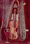 Violin Case Framed Prints - Wine and Violin Framed Print by Frank Hunter