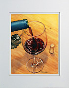 Cork Screw Paintings - Wine Anticipation by Richelle Siska