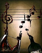 Wine Rack Paintings - Wine Bar Performer Wine Art Painting by Leanne Laine