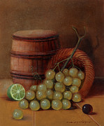 Barrel Paintings - Wine Barrel and Grapes by Nellie Mendoza