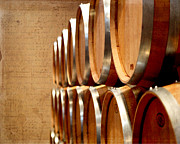 Ferment Framed Prints - Wine Barrels Framed Print by Karen  Burns
