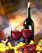 Wine Illustrations Digital Art Prints - Wine Before and After Print by Elaine Plesser